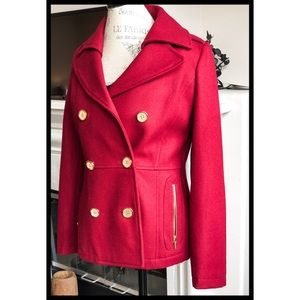 Kenneth Cole Red Wool Double-breast Dress Coat